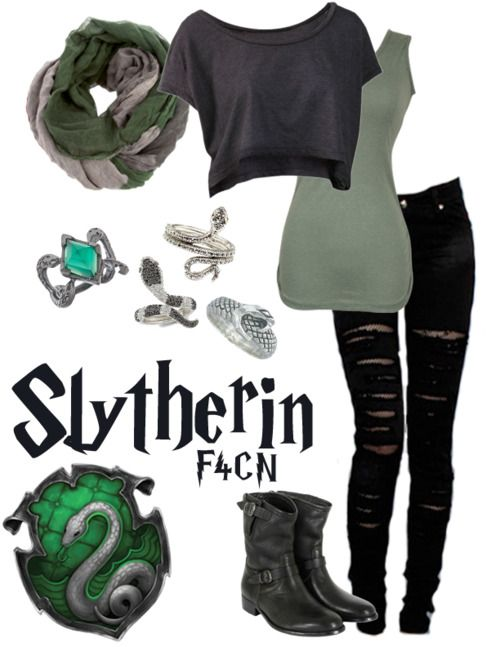 Again here is to Slytherin! however this could be tweaked a little bit in order to work as a Death Eater outfit!  But not all Slytherins are Death Eaters!!