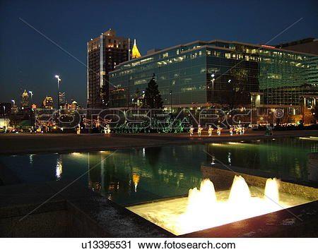 atlanta, ga, géorgie, parc centennal, 1996, été, jeux olympiques, en ville, horizon, soir, décorations noël, fontaine Voir Image Grand Format