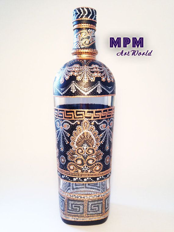 Handmade Decorative Bottle made in Point-to-Point technique using Traditional Greek Motives.