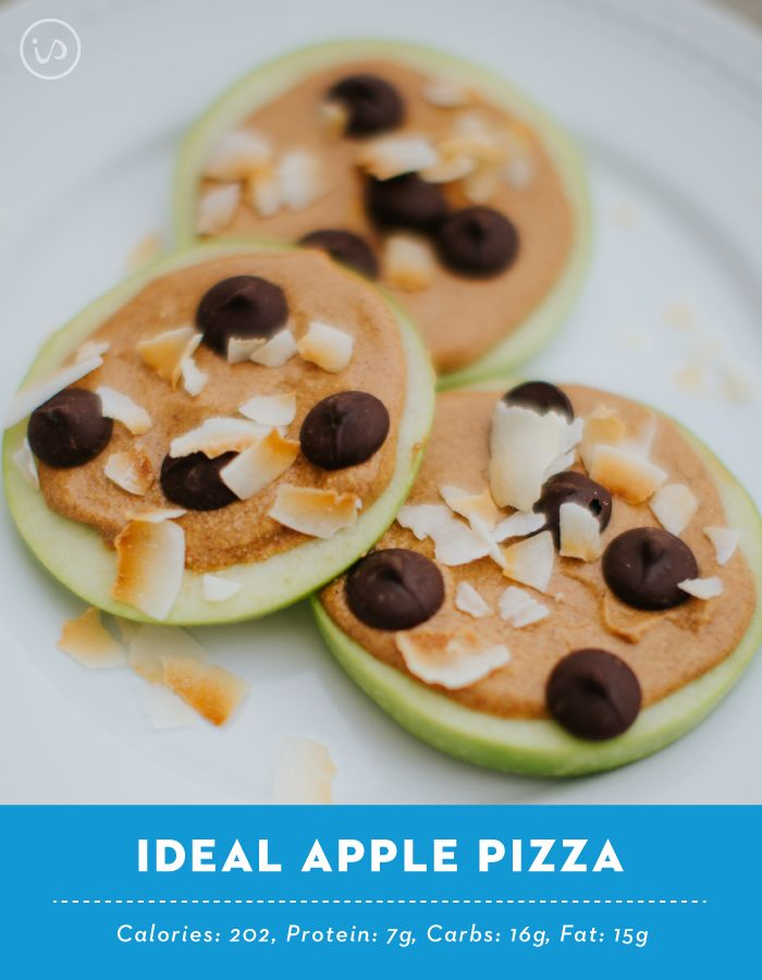Here's a yummy snack to make when you get home from school or work! It's so cute and delicious even your kids will want some!    You can find more fun and easy recipes like these on our FREE 12 week ShapeUp Challenge! We've got new recipes and ideas for snacks everyday, plus meals and workouts!   http://www.idealshape.com/idealshape-up-challenge.list  Ideal Apple Pizzas ¼ cup almond butter ½ scoop vanilla idealshake 1 medium apple 1 tbsp dark chocolate chips 1 tbsp coconut flakes  Melt…