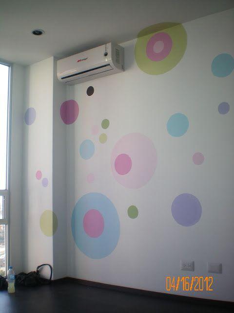 Murales pintados a mano mural c rculos ramas y - Murales pintados en la pared ...