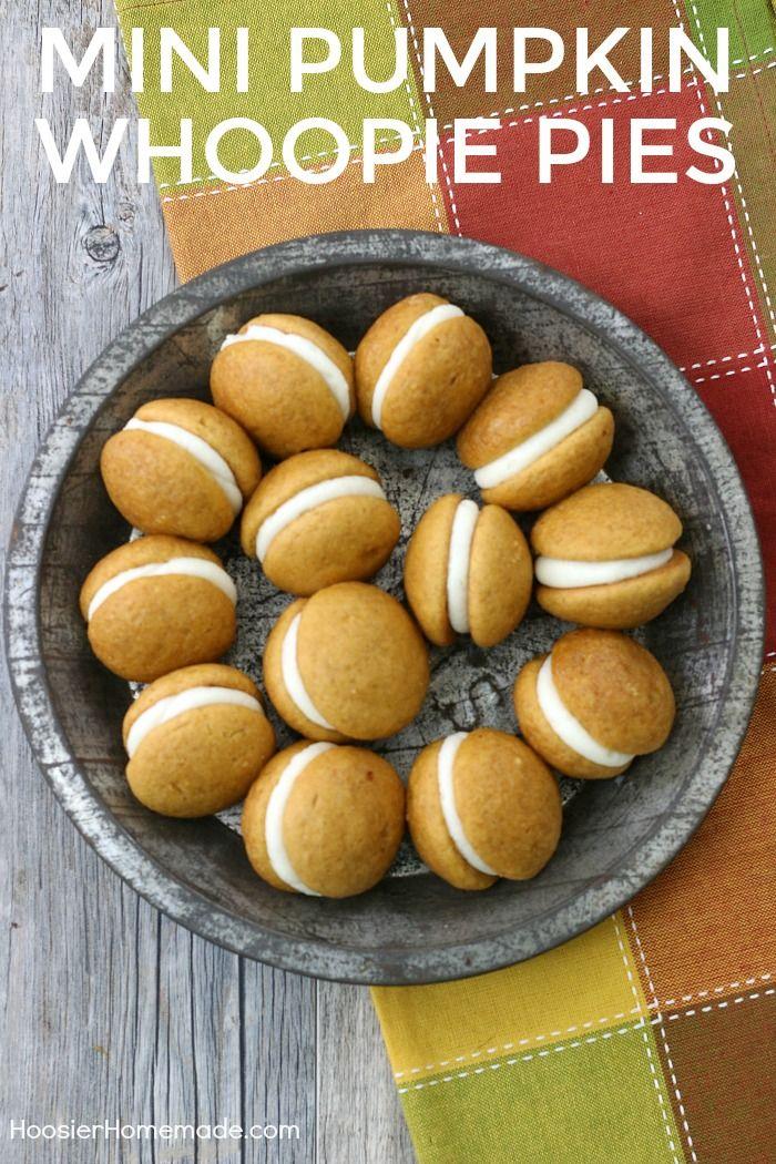 MINI PUMPKIN WHOOPIE PIES - Soft pumpkin cookies sandwiched with ...