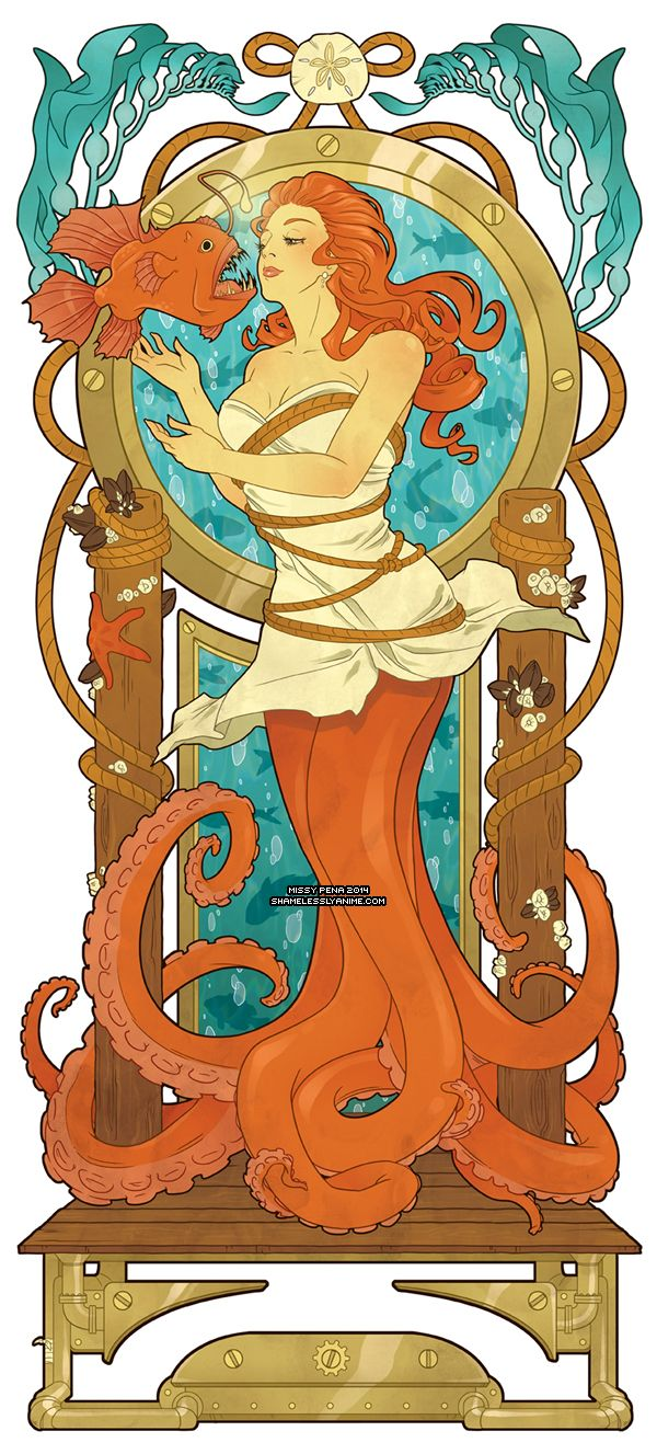 If Ariel had been an octopus mermaid. Art Nouveau. Lovely!