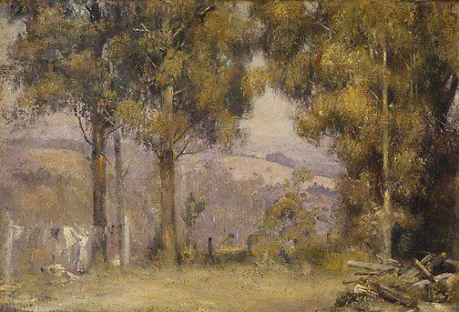 Washing day Kallista, Tom Roberts. Oil on canvas on hardboard,35.5 x 52.3 cm. Kallista, Victoria, Australia, c. 1923-25. The Art Gallery of New South Wales. Gift of Mrs W.G.Buckle, 1947.