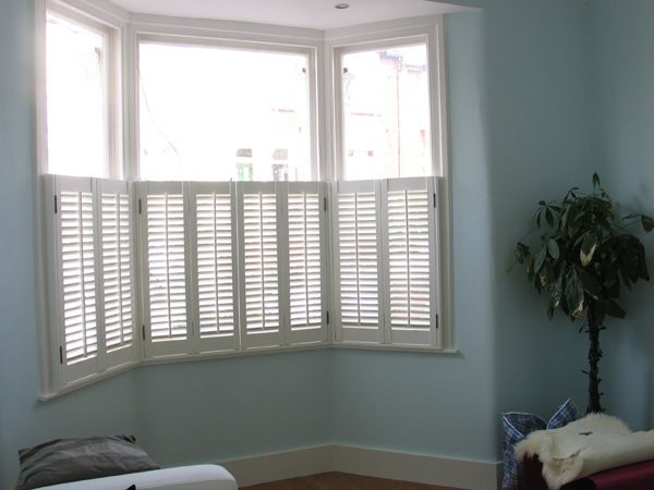 Cafe Style Plantation Shutters In Mdf With 47mm Louvres