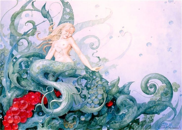 """Siren"" ~ Daniel Merriam ~ Watercolorist Extraordinaire ~These short-wide pictures look especially good when you double click on them, which will take you to a full-screen view with a black background (set your computer for ""Full-screen"" mode). ~ M.S.M. Gish ~ Miks' Pics ""Daniel Merriam ll"" board @ http://www.pinterest.com/msmgish/daniel-merriam-ll/"