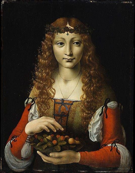Attributed to Giovanni Ambrogio de Predis (Italian, Milanese, active by 1472–died after 1508).  Girl with Cherries. Oil on wood, 19 1/4 x 14 3/4 in, 48.9 x 37.5 cm. ca. 1491–95.  © The Metropolitan Museum of Art.