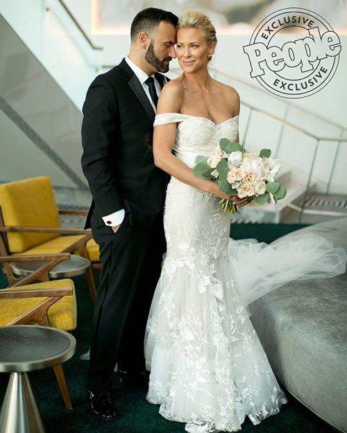 Brittany Daniel in Custom Trish Peng Lace wedding dress www.trishpeng.com