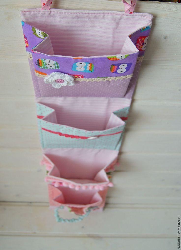 Купить Кармашки в детский сад Совы / Узкие кармашки / Панно с карманами - розовый