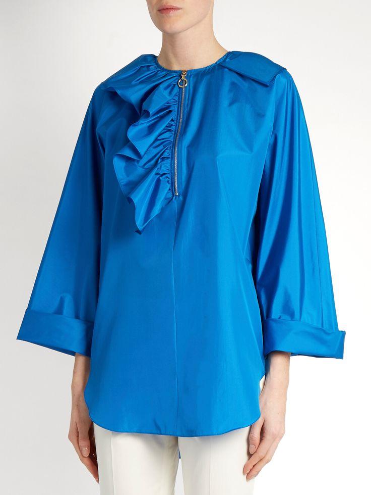 Click here to buy Nina Ricci Asymmetric half-ruffle silk-taffeta blouse at MATCHESFASHION.COM