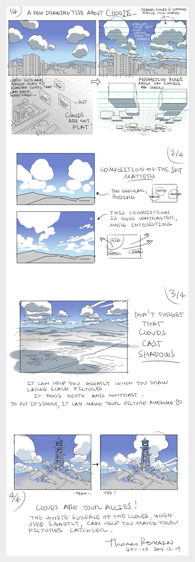 """Drawing tips about clouds"" by Thomas Romain* • Blog/Website…"