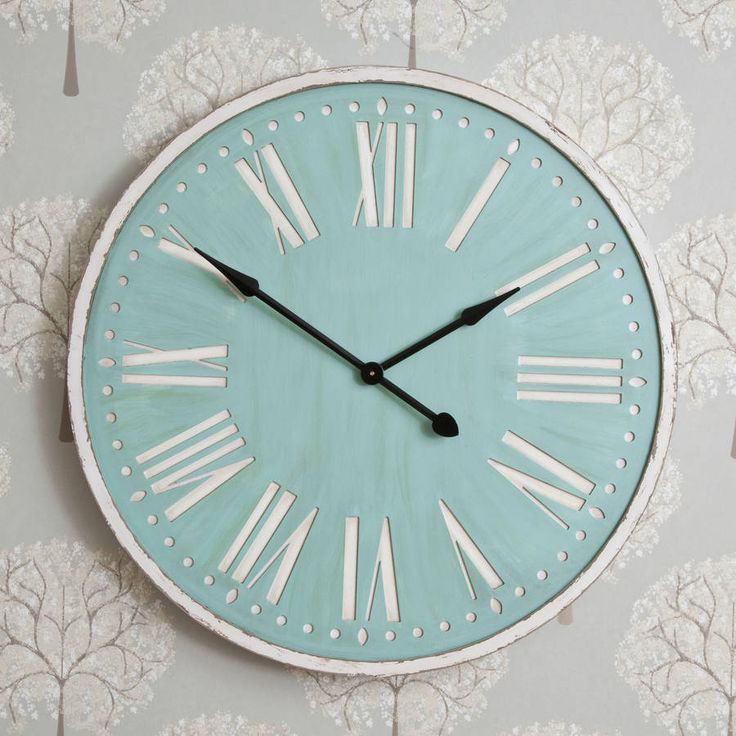 92cm Duck Egg Distressed Clock
