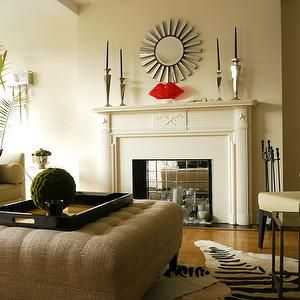 living rooms - sunburst mirror, zebra hide, tufted ottoman, tropical, fireplace, burlap ottoman, burlap tufted ottoman, zebra cowhide rug,  ...