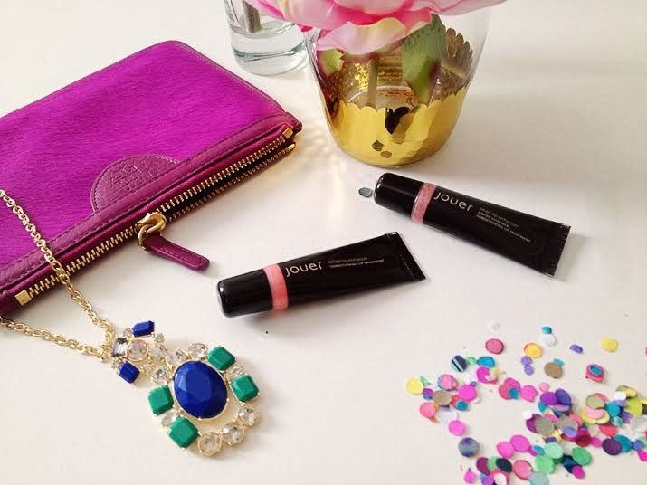 Condition your lips and add a subtle sheen with Jouer Tinted Lip Enhancer in Cosmo and Pearl Lip Enhancer in Rose Pearl