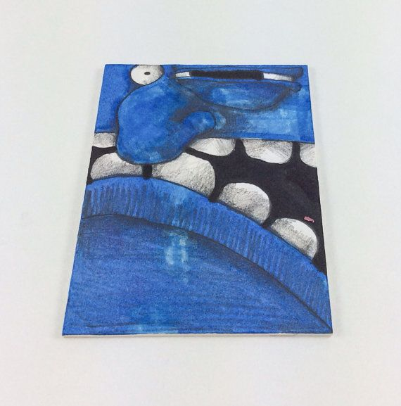 Blue Monster Original ACEO Drawing by Aaron Butcher on Etsy, $5.00