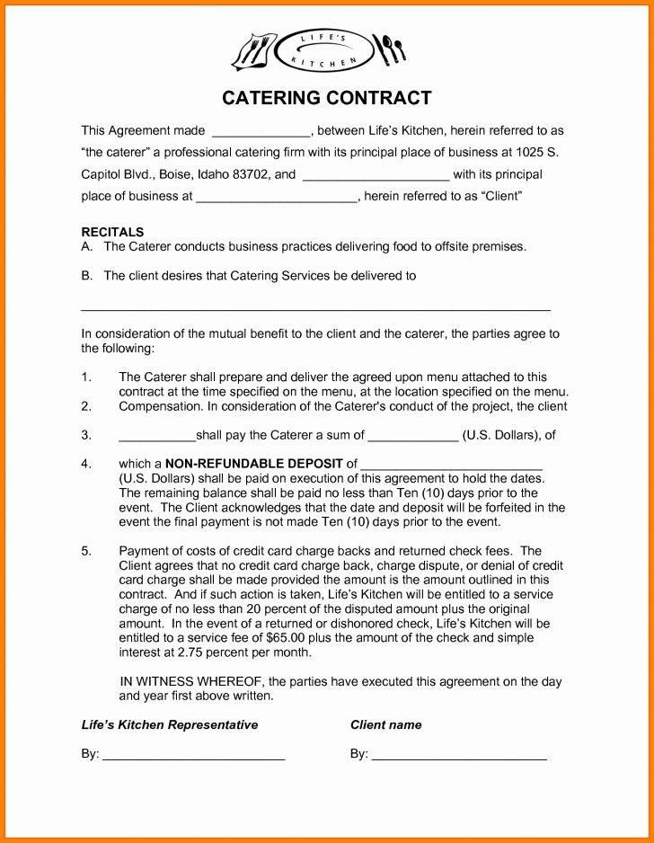 Contract For Catering Services Template Luxury Template Catering Contract Template Contract Template Marketing Plan Template Contract