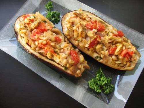 Imam bayildi (a stuffed eggplant dish) with white beans and pine nuts (for protein). #vegetarian #vegan #recipes