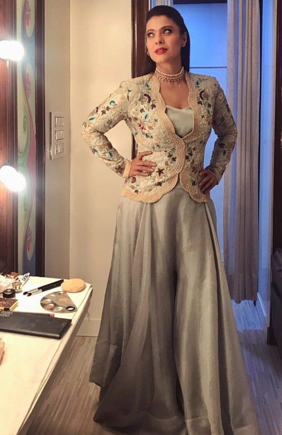 Beautiful Dress with embroidered jacket. KAJOL😍 | Simple gowns ...