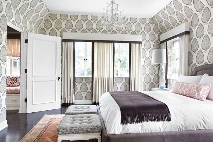 Statement wallpaper....works in this room by highlighting the architectural ceiling.