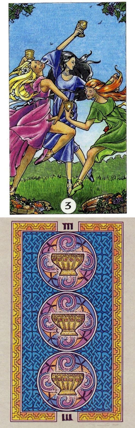 Three of Cups: social pleasure and lack of independence (reverse). Robin Wood Tarot deck and Celtic Tarot deck: lotus tarot reading, tarotspreads vs tarot cards gratis. The best tarot meanings and lenormand cards decks.