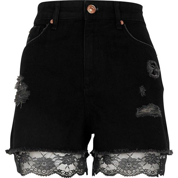 River Island Black lace hem high waisted denim shorts ($70) ❤ liked on Polyvore featuring shorts, black, pant, denim shorts, women, destroyed jean shorts, lace shorts, high-waisted shorts and lace denim shorts