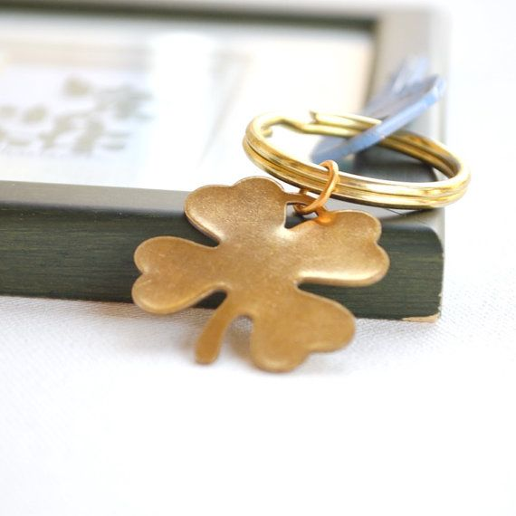 Lucky 4 leaf clover key ring good luck St. by AGardenCottage, $14.95