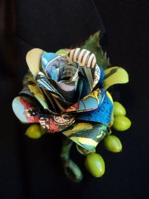 A comic book boutonniere tutorial thanks to Crissy of Nerd Alert Designs.