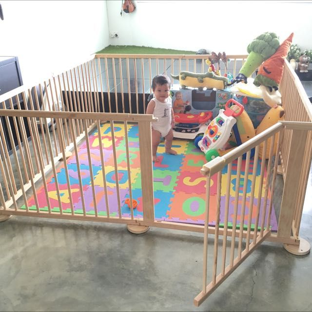 Large Wooden Playpen Play Yard Babies Kids On Carousell Baby Play Yard Baby Play Areas Baby Playpen