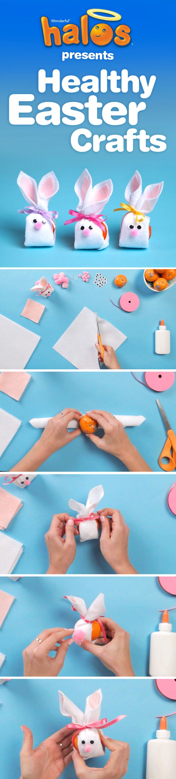 Learn how to make a simple, healthy Easter craft with a Wonderful Halos mandarin and just a few simple materials.