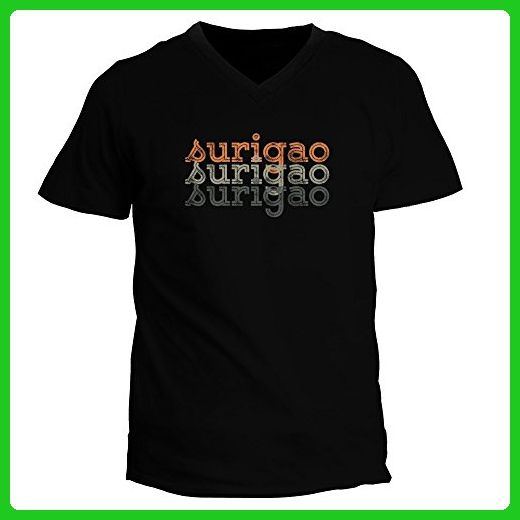 Idakoos - Surigao repeat retro - Cities - V-Neck T-Shirt - Retro shirts (*Amazon Partner-Link)