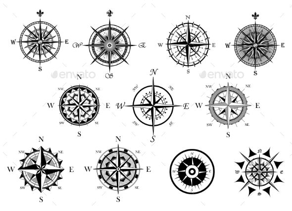Nautical Wind Rose and Compass Icons Set - Travel Conceptual