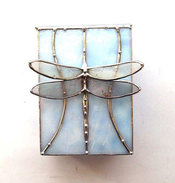 £113 Dragonfly Stained Glass Box - Real Dragonfly Wings on Beautiful White and Blue Art Glass - Gift for a Nature Lover
