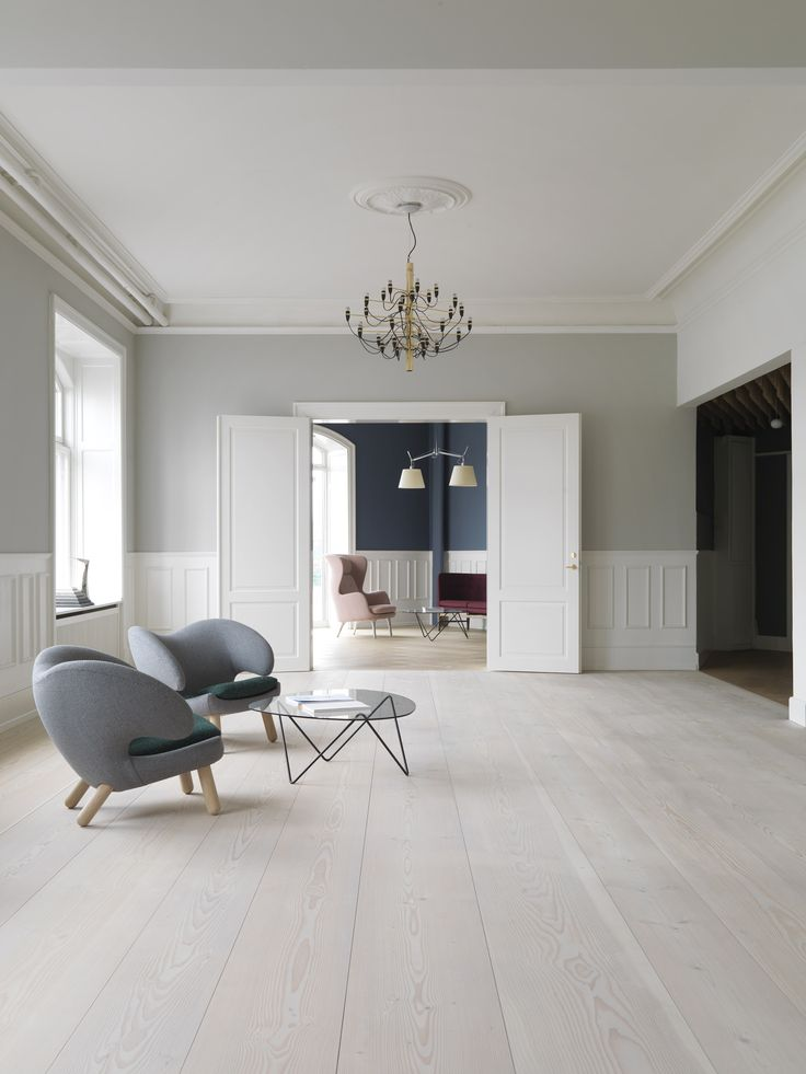 Dinesen's showroom. A nice interior with a white painted double door in classic style. Copenhagen, Soetorvet 5