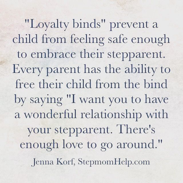 Every parent has the ability to let their child know it's okay and good to like/love their stepparent.