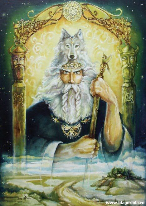 Triglav - Nija - Velesъ (Veles)god of night and darkness, as well as Earth and Sky. He is the highest God of all said oracles at Szczecin, Poland, were interpreted from the behavior of a black horse. He is veiled completely, so holy that he cannot see the evil deeds of men. He rarely appears around mortals, and is depicted as a three-headed man with bands of blindfolds over his eyes.