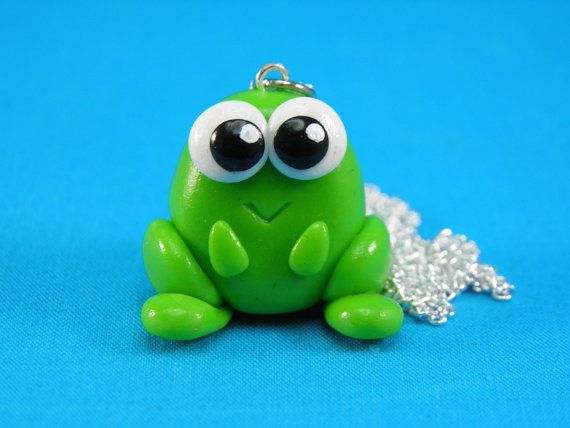 Kawaii Green Frog Charm Necklace Polymer Clay. $13.00, via Etsy.