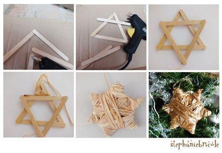 TUTO DECO NOEL facile : faire une étoile ou une couronne avec du raphia et des batonnets de glace - Stéphanie bricole
