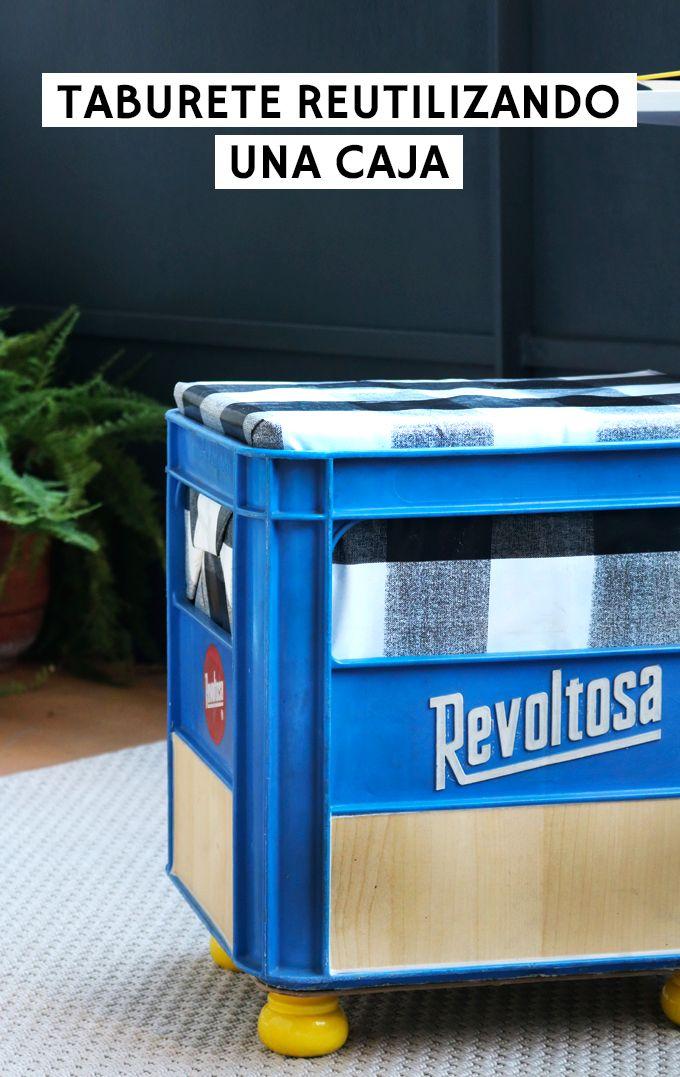 Cómo hacer un taburete o pouf reutilizando cajas de plástico How to create a stool reusing plastic crates