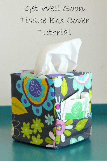 Love this idea!  A DIY get well soon tissue box cover with pocket for your chap stick, cough drops, etc. This would make a thoughtful gift to if you are sending a care package.