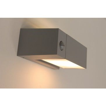 Rechthoekige strakke kantelbare buitenlamp QUADRA I | Grijs + bewegingssensor