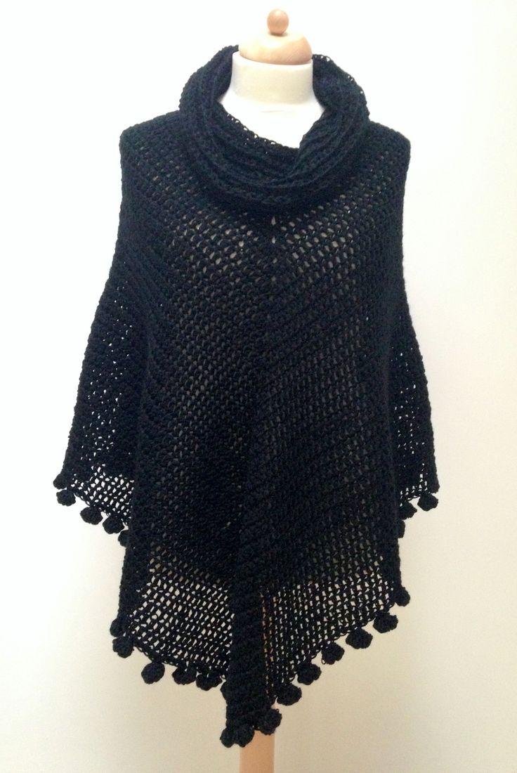 FREE crochet pattern!  maRRose - CCC: Pom Pom Poncho                                                                                                                                                      More