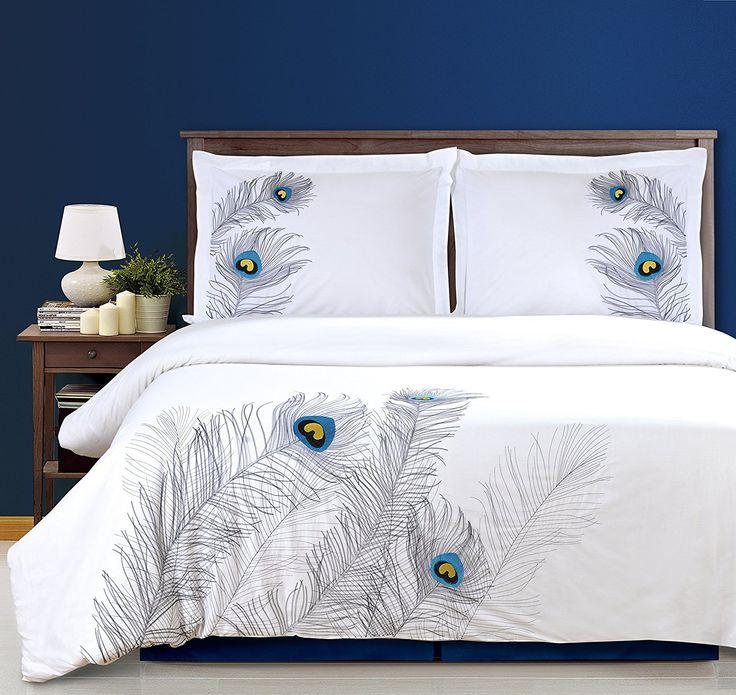 cotton peacock duvet cover set king size