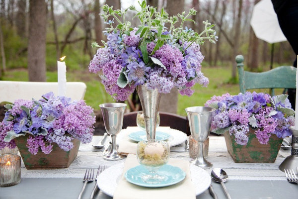 Lilac centerpieces for dinner table