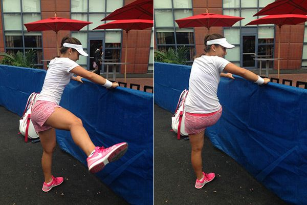 Stretch Out Your Hips With This Move From Tennis Pro Lauren Davis   THE MOVE: LATERAL HIP SWING #SELFmagazine