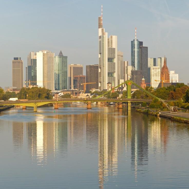 Skyline of Frankfurt, Germany as seen from Frankfurt am Main.