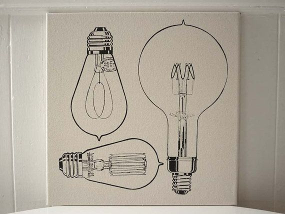 Vintage Light Bulbs silk screened wall by utilitarianfranchise, $35.00