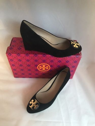 456c8571d78240 Tory Burch Luna Black Suede Wedge Pump Shoe Gold Logo Almond Toe 65mm Size  7 New