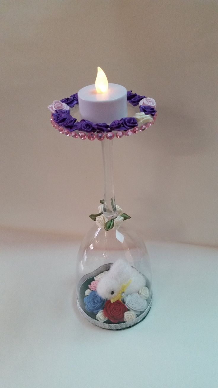 Easter Candle Holder  white rabbit in flowers $ 15.00