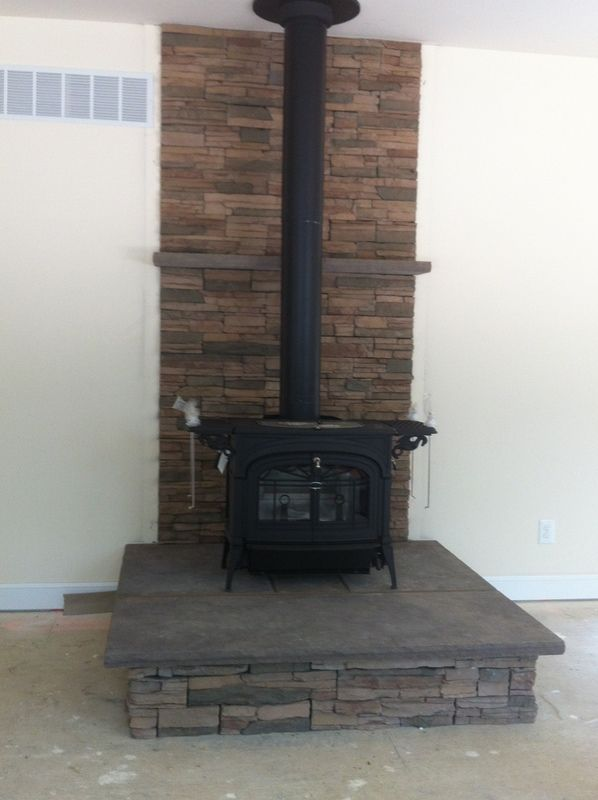 DIY woodstove install. See More. The platform and ledge is nice - Top 25+ Best Wood Stove Surround Ideas On Pinterest Wood Burning