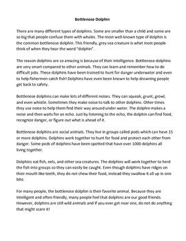 This free reading passage about Bottlenose Dolphins is in the MAZE assessment format. This means that the passage is altered so that every few words the reader is prompted to select the word that makes the most sense out of three possible answers. This forces the reader to think about what words would have the best meaning in light of the passage. The reader must be familiar with both the content of the passage and basic sentence structure.  For third grade and up.